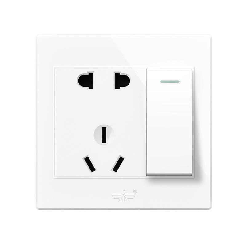 新飞开关插座面板套装家用雅白色86型墙壁一开带16A空调5五孔USB