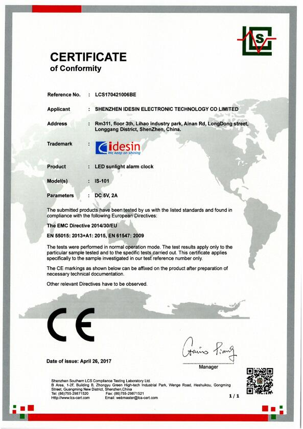 CE Certificate of IS-101_LCS170421006BE