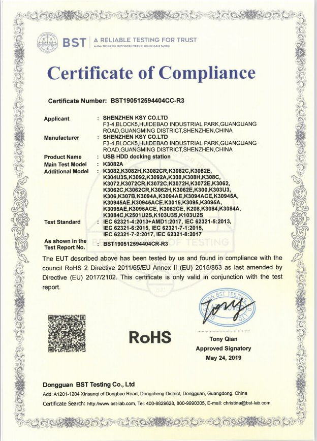 RoHS certification