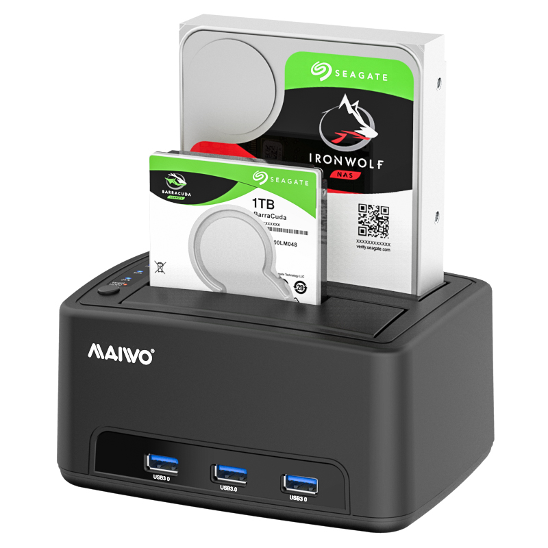 K3072H 2.5''/3.5'' USB3.0 dual bay Docking with 3ports USB3.0 HUB