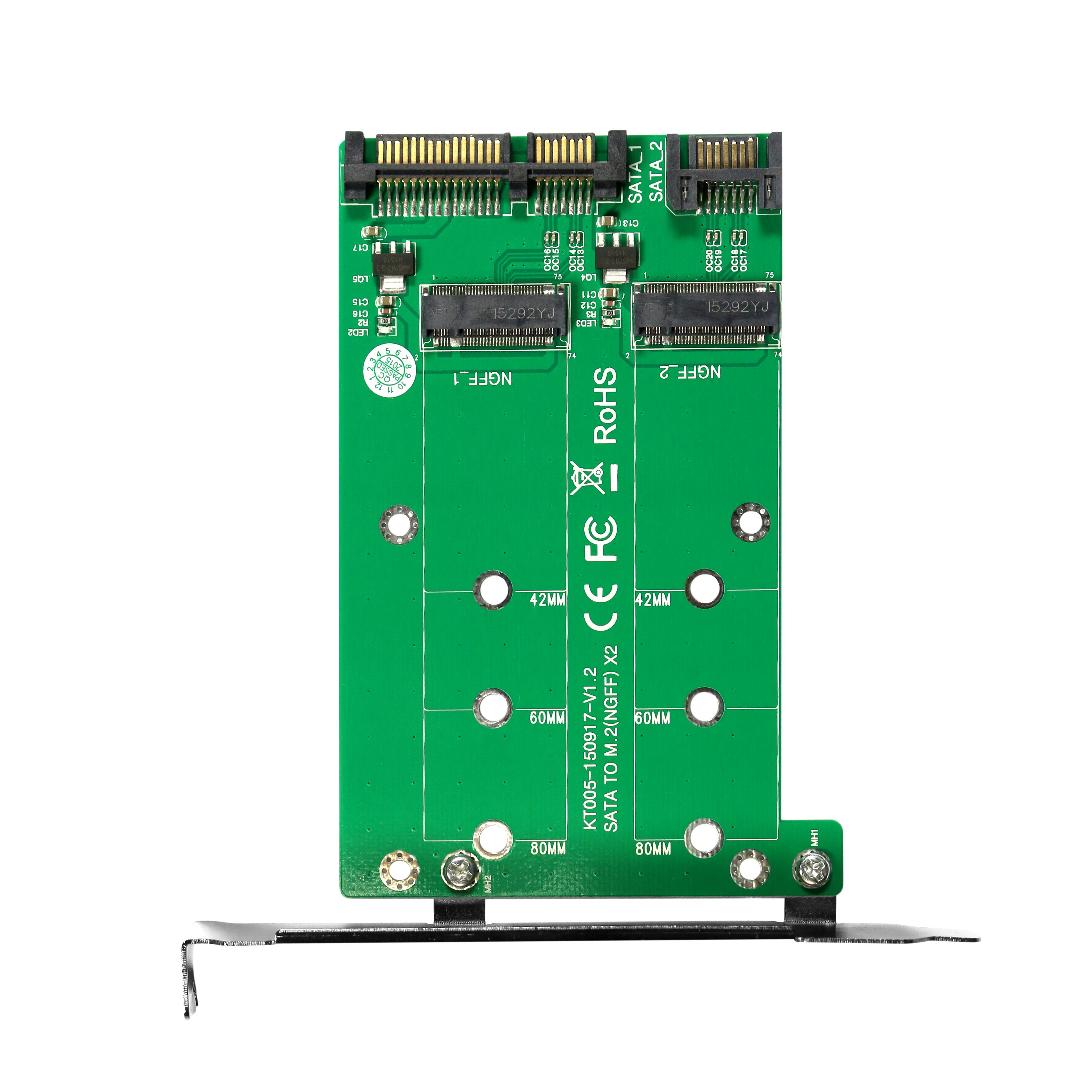 KT005A 2xSATA TO 2xM.2 Card