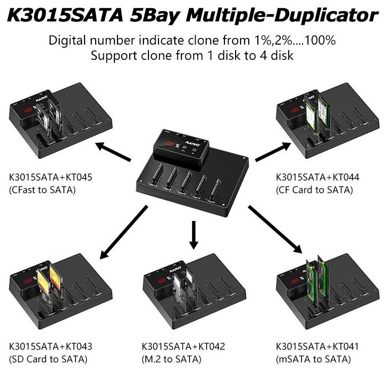 K3015SATA 5 Bay 2.5'' Clone HDD/SSD Duplicator