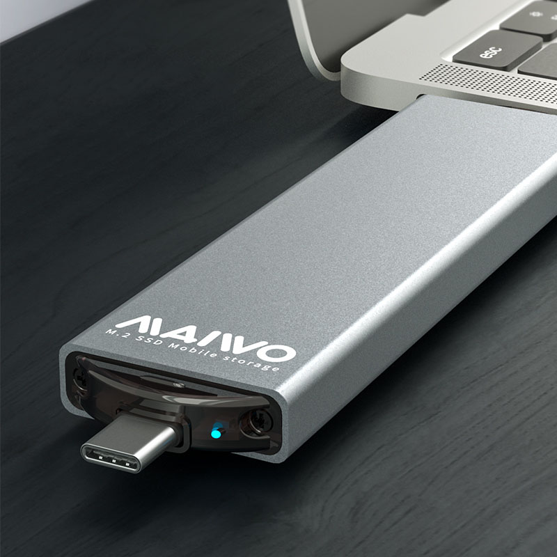 Maiwo K1683P2 M.2 NVME SSD Desktop Notebook Mini External Case Double Port [M.2SATA&NVME protocol]
