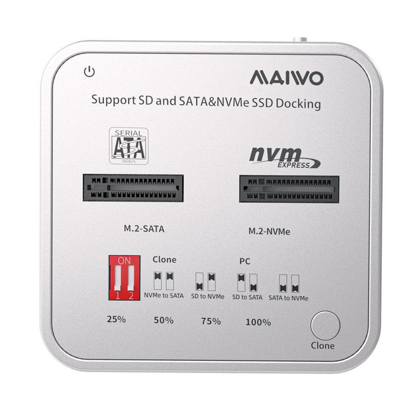 MAIWO K3016CL USB3.2 Gen2 M.2 SSD clone docking with SD card reader