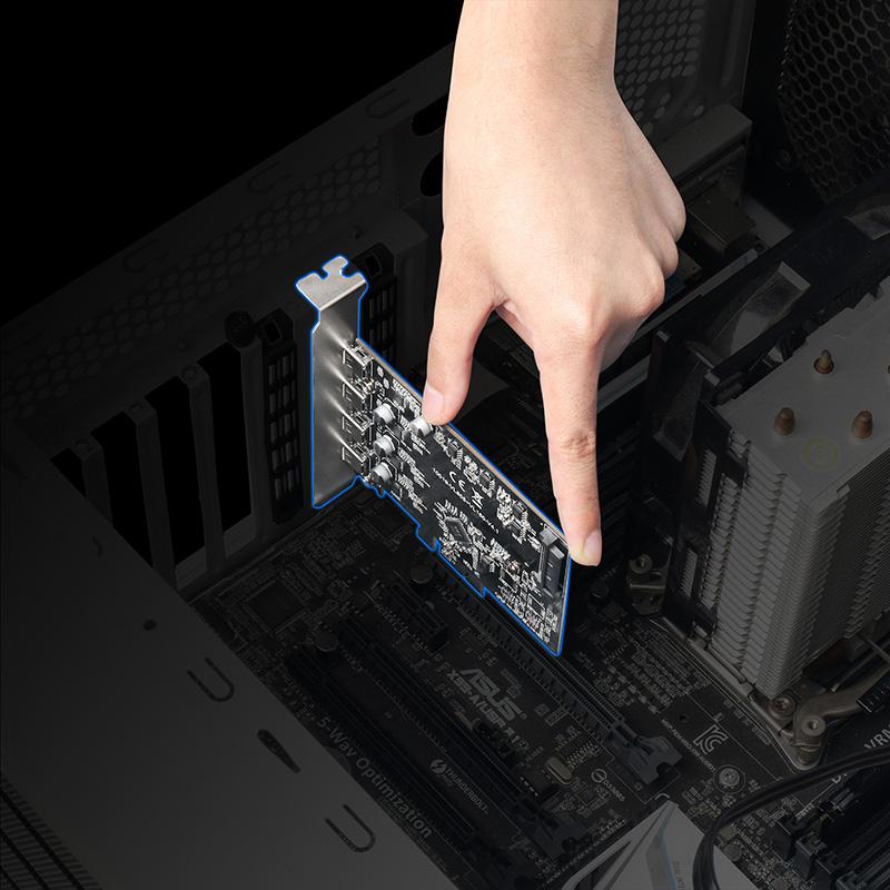MAIWO KC019 4-Port PCIe X1X4X8X16 to USB 3.1 Expansion Card