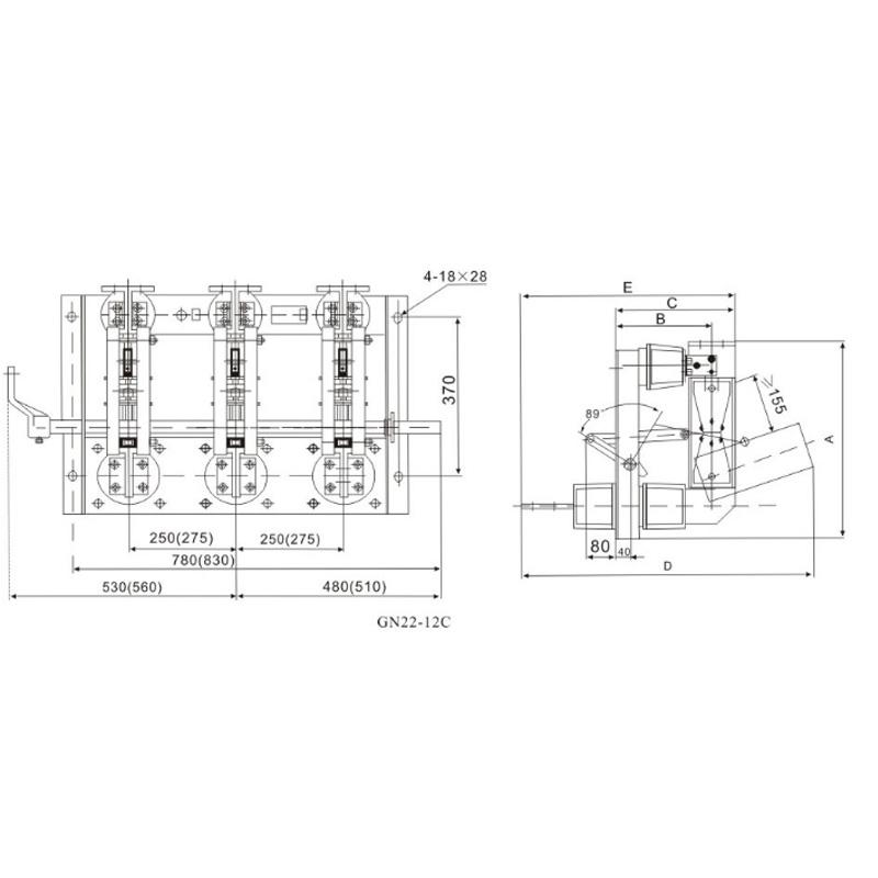 Indoor high voltage disconnecting switch GN22-12(C)
