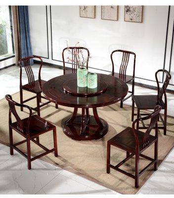 蘇州古典紅木餐桌圓桌酸枝木飯桌6人家用新中式家具桌椅組合H2017