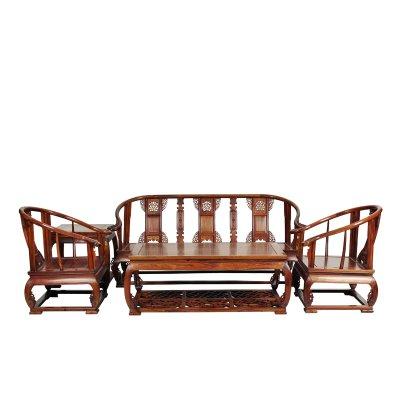 仿古中式全實木沙發組合南榆木明清古典客廳皇宮椅圈椅卷書椅沙發K1609