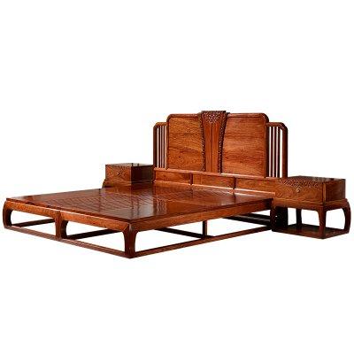 紅木家具新中式大床主臥家具婚床花梨木刺猬紫檀1.8現代實木大床W3214