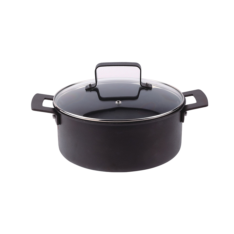 Covered dutch oven, w/ 2 seasoned steel side handles