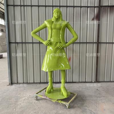 玻璃钢商业街女性人物雕塑定做