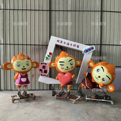 玻璃钢猴子相框雕塑定做