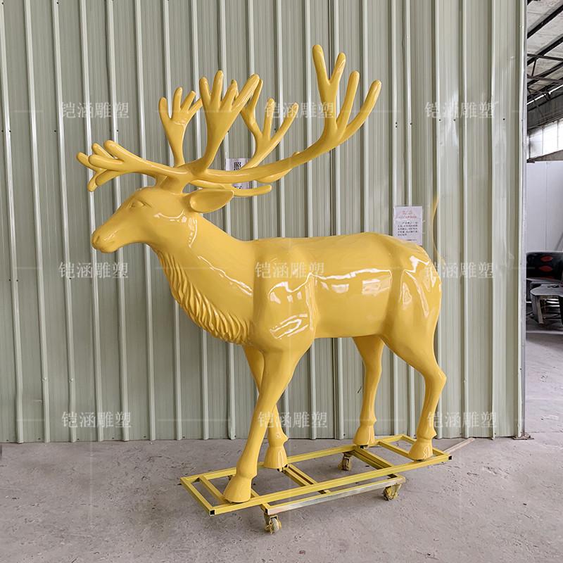 玻璃钢金鹿雕塑定做