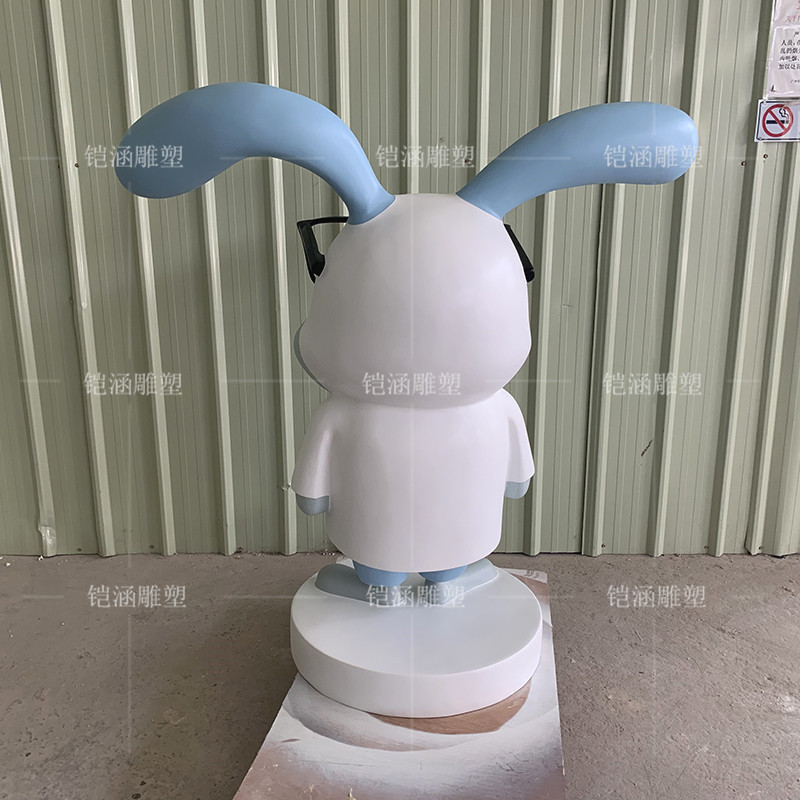 玻璃钢雕塑兔子博士公仔定制