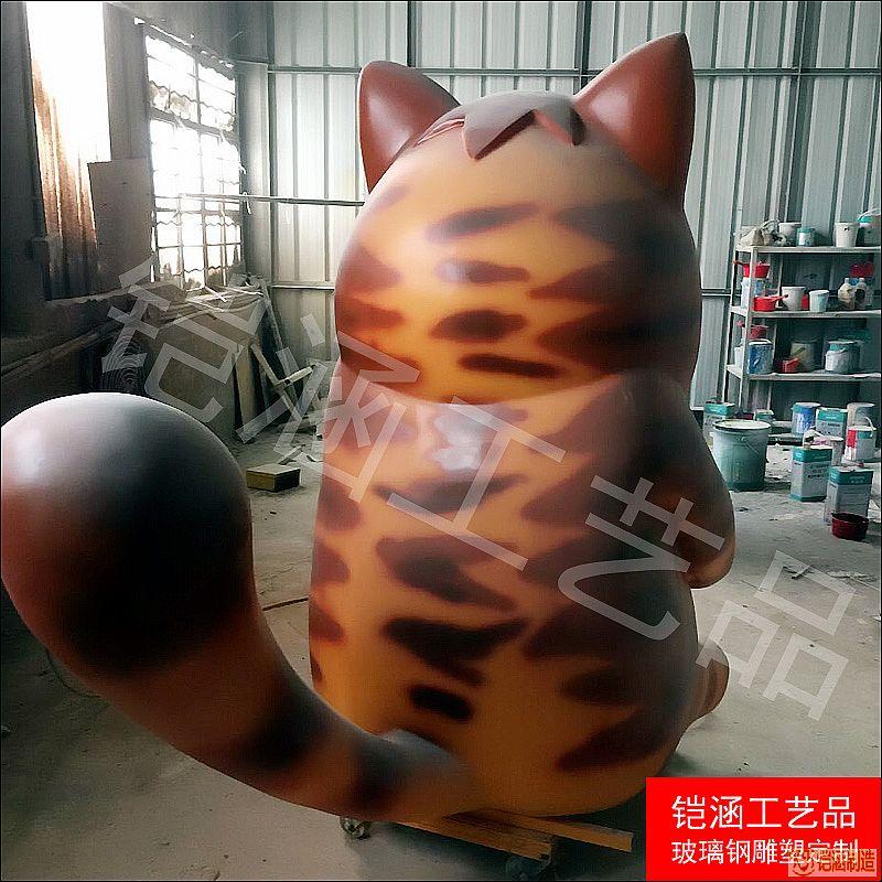 玻璃钢卡通猫摆件