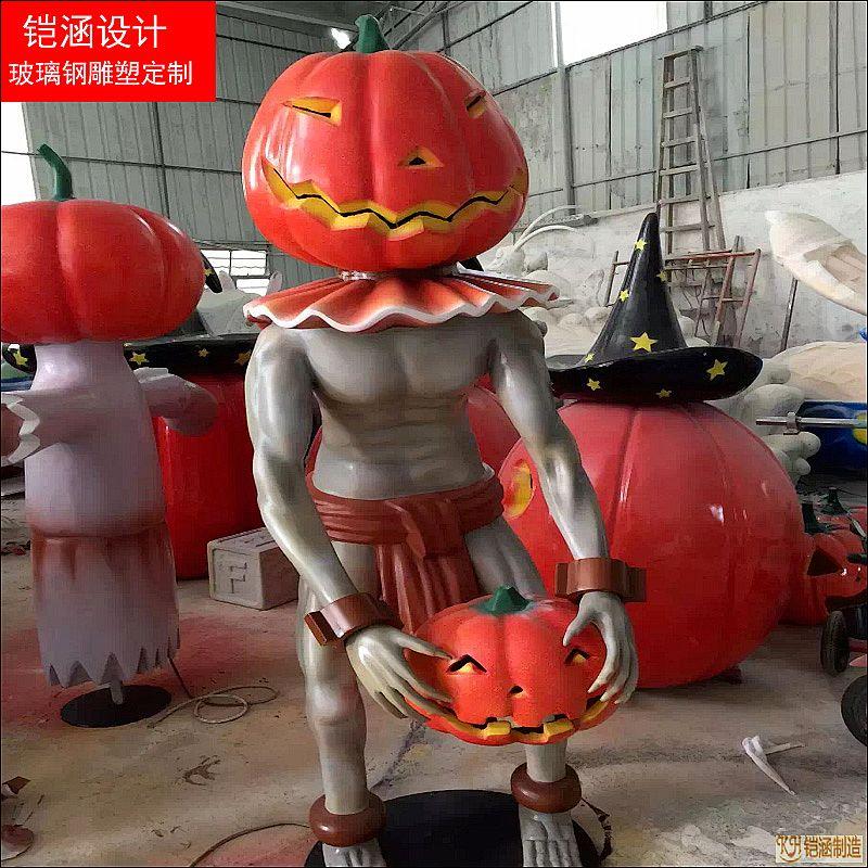 万圣节南瓜人雕塑摆件