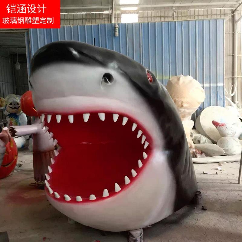 万圣节鲨鱼雕塑定制
