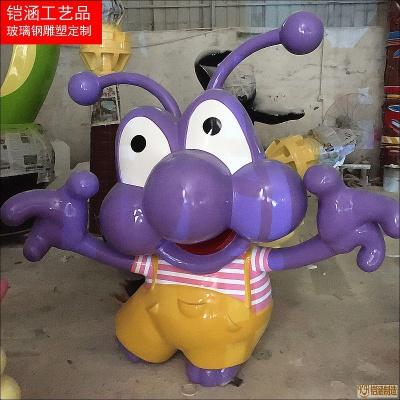 玻璃钢紫色小虫卡通动物雕塑