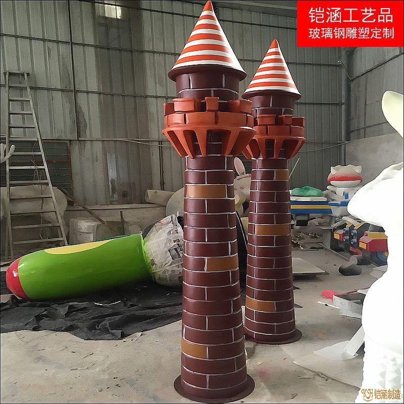 玻璃钢城堡装饰柱定做