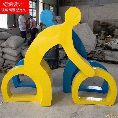 抽象城市雕塑自行车运动人物定制