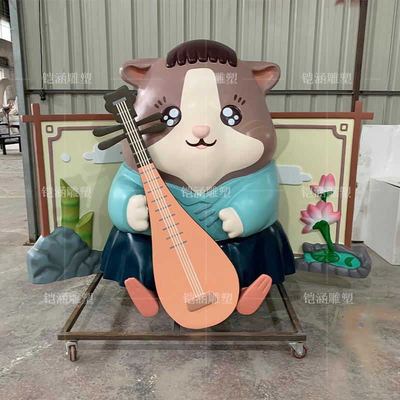 抚琴老鼠雕塑定制