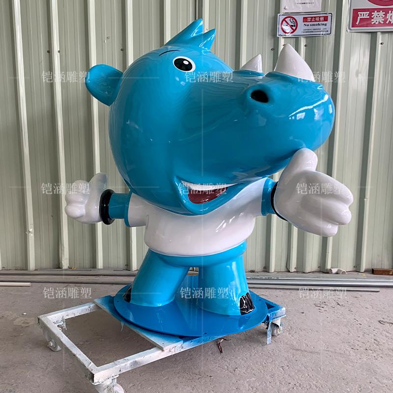 玻璃钢蓝色犀牛雕塑定制