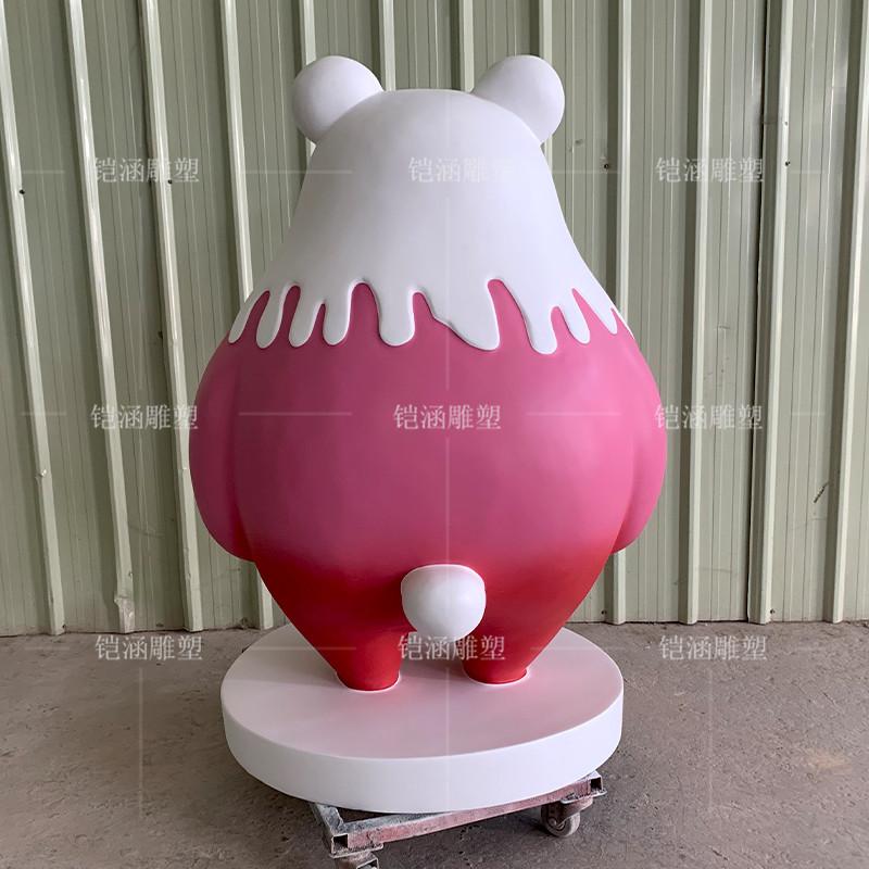 粉红色U妮熊玻璃钢雕塑定制