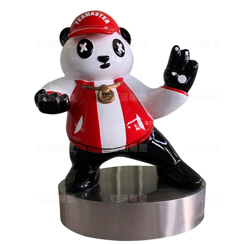 卡通 潮 熊猫 玻璃钢 雕塑 定制