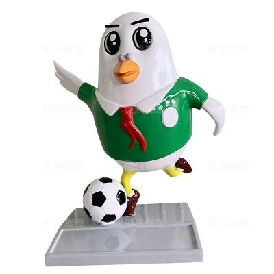 卡通 鸽子 足球 吉祥物 玻璃钢 雕塑 定制