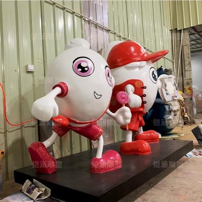 饺子 公仔 卡通 吉祥物 玻璃钢 雕塑 定制