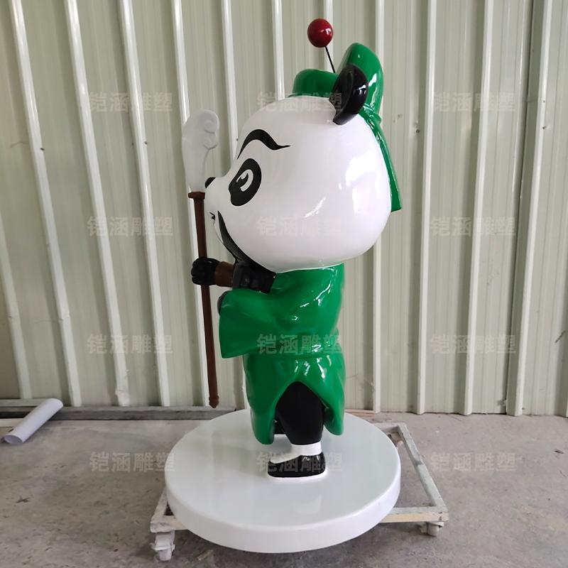 关羽 熊猫 公仔 卡通 玻璃钢 雕塑
