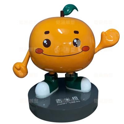 橙子 卡通 公仔 吉祥物 玻璃钢 雕塑 定制