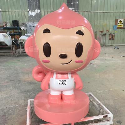 卡通动物粉色猴子玻璃钢雕塑摆件定制
