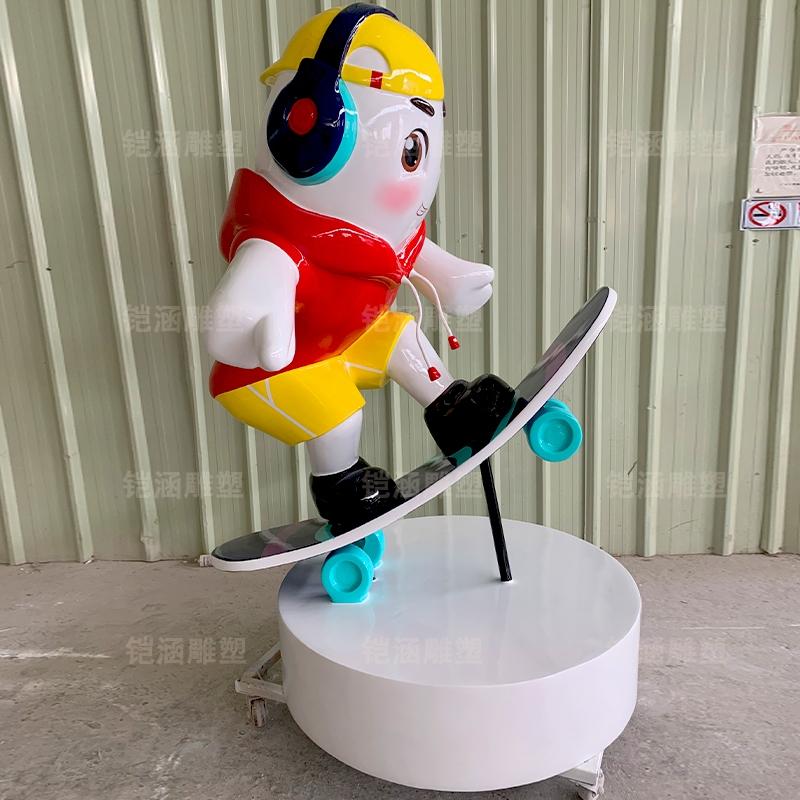 大米弟弟卡通人物玻璃钢雕塑定制户外摆件定制
