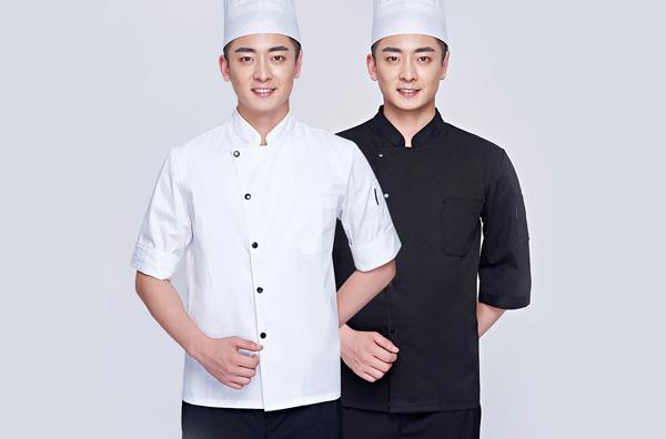 黑白色厨师工作服定做
