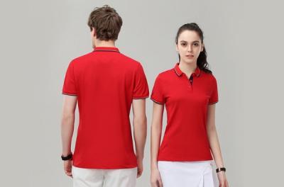 红色翻领广告衫定做