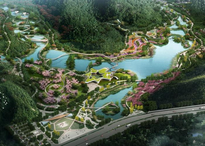习水东风湖湿地公园钢结构飘带桥