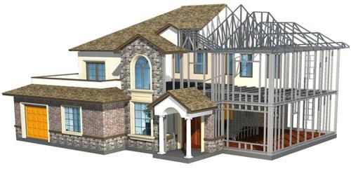 钢结构别墅房屋工程案例2