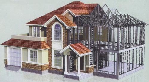 钢结构别墅房屋工程案例3