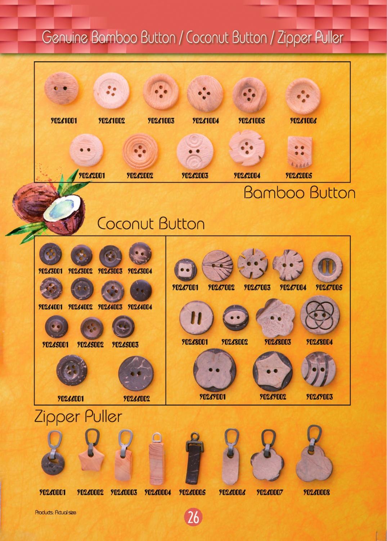 (26)Genuine Bamboo Button _ Coconut Button _ Zippe