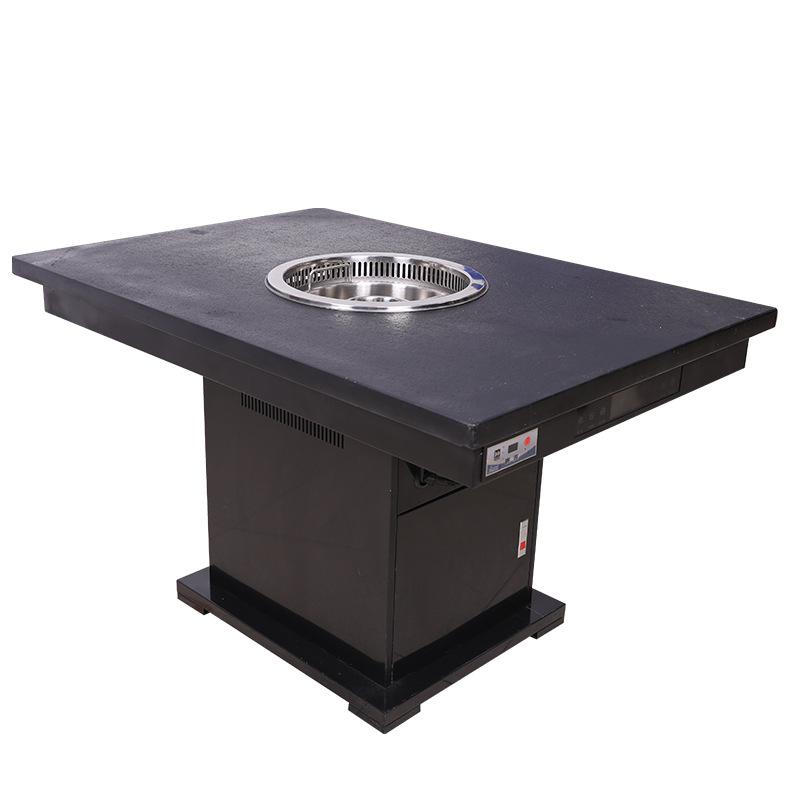电磁炉无烟升降火锅桌 厂家定制涮串店自助餐厅长方形一体火锅桌