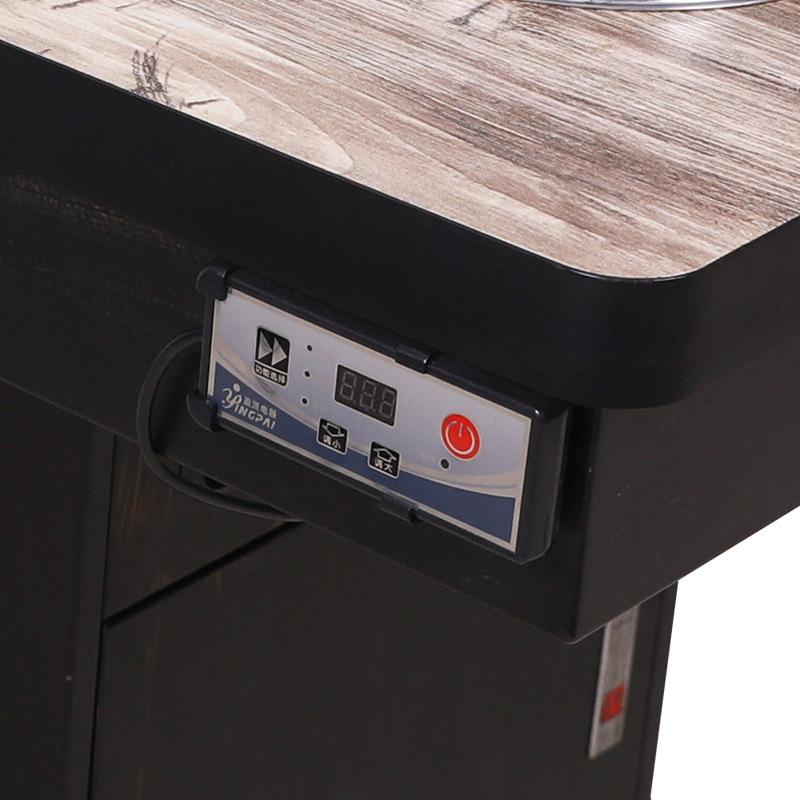 单人升降火锅桌 现代饭店自助餐厅长方形无烟4人电磁炉火锅桌定制