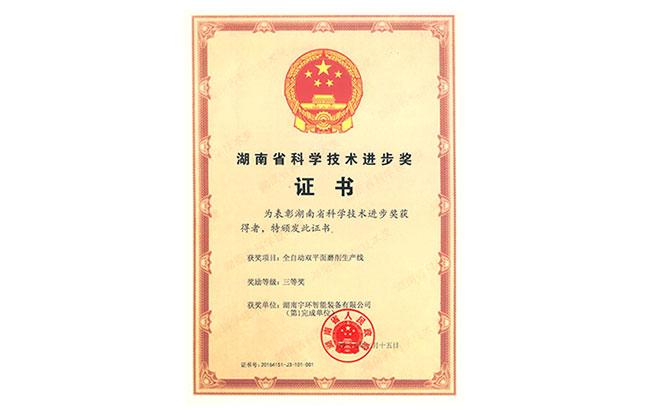 湖南省科技技术进步奖证书