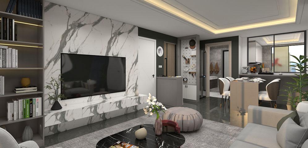 灰白配色打造82㎡小三房,三代人的居住空间照样很温馨!