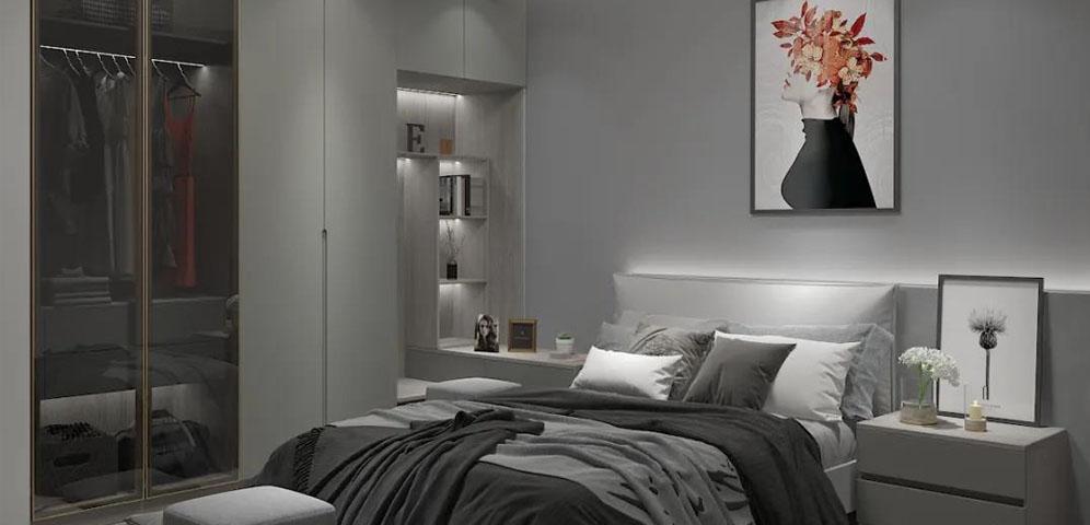 灰度卧室打造,轻奢感和温馨感真让...