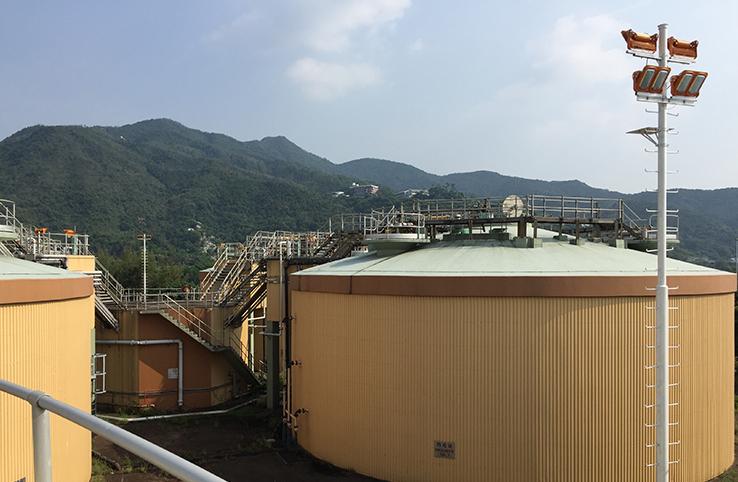 wastewater treatment Plant & Methane gas storage tank farm