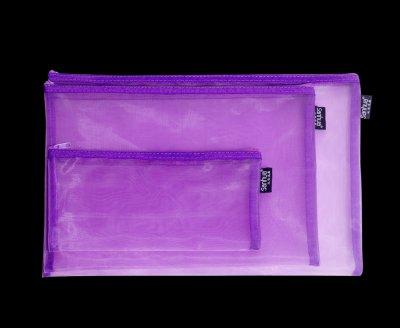 网格拉链袋紫