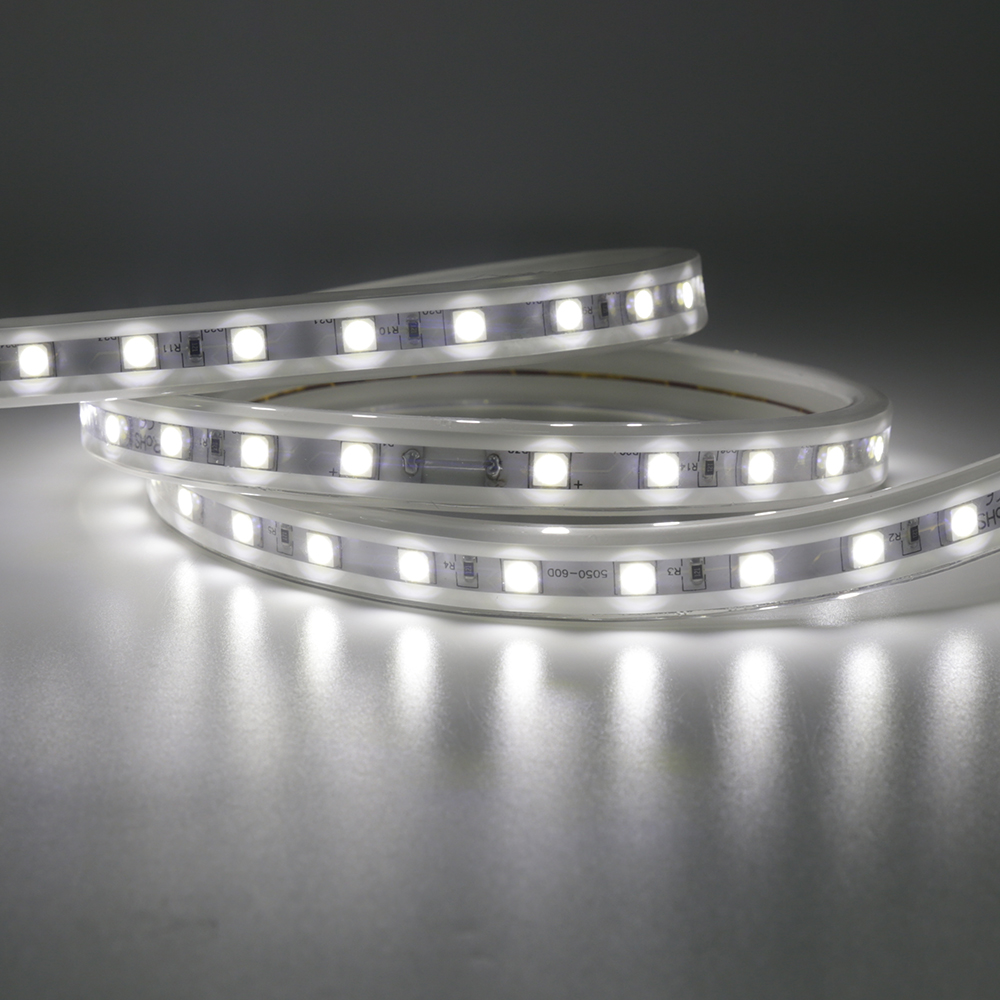 TPU 110v 120v 220v 240v LED Strip 5050 2835 60led/M horizontal led strip light