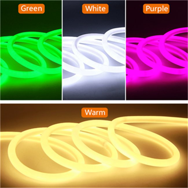 16mm White 360 Degree Round LED Neon Strip Flexible Light 120Leds/M