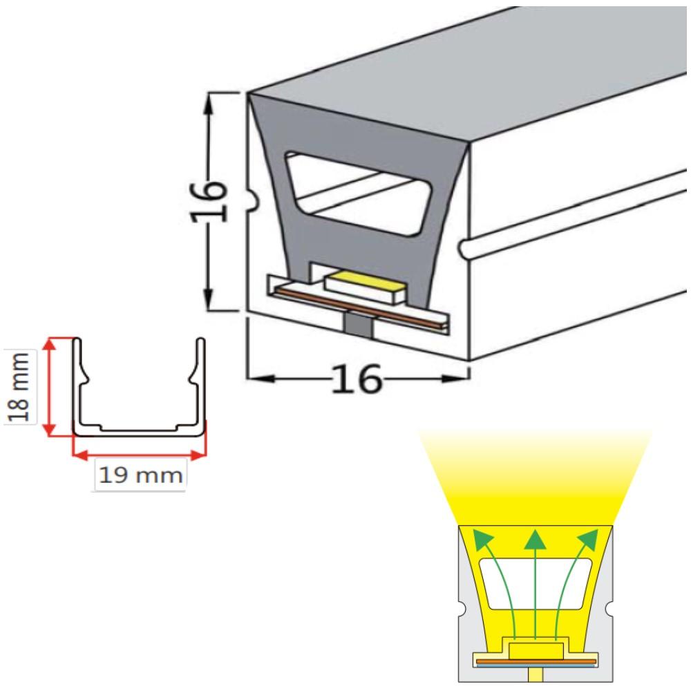 16*16mm Top View Lighting Neon Strip